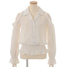 LIZ LISA Open Shoulder Frilly Embroidered Shirt