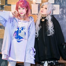 LISTEN FLAVOR Heart Cross Lace-Up Ribbon Hoodie