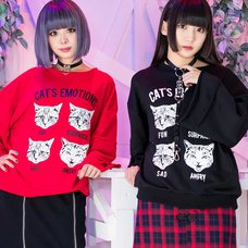 LISTEN FLAVOR Cat's Emotions Bell Sleeve Sweatshirt