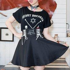 LISTEN FLAVOR Angel Heart Lace-Up Circular Skirt