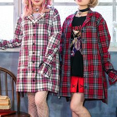 LISTEN FLAVOR Ribbon Sleeve Checkered Shirt Dress