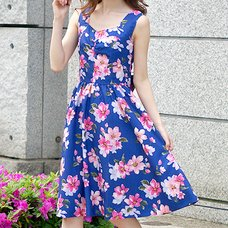 LIZ LISA Large Floral Print Ribbon Dress
