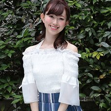 LIZ LISA Frilly Sleeve Shirred Top