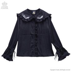 LISTEN FLAVOR Everlasting Ribbon Detail Ruffled Long Sleeve Shirt