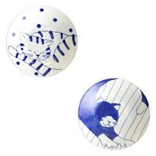 Friendly Cat Mino Ware Deep Plates