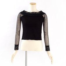Swankiss Polka Dot Lace Sleeve Top
