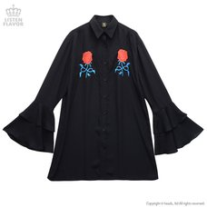 LISTEN FLAVOR Rose Embroidery Frilled Sleeve Shirt
