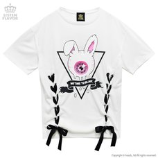 LISTEN FLAVOR Eyeball Bunny Lace-Up Detail Top