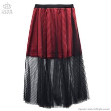 LISTEN FLAVOR Striped Tulle Layered Skirt
