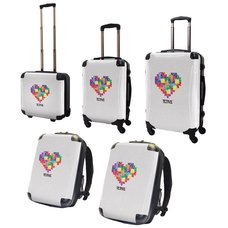 Tetris Art Suitcase & Rucksack Collection: Heart (White)