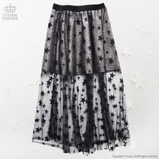 LISTEN FLAVOR Star Tulle See-Through Layered Skirt