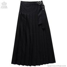 LISTEN FLAVOR Layered Pleated Long Flap Skirt w/ Shorts
