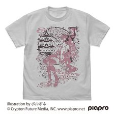 Sakura Miku Borubone Ver. Light Gray T-Shirt