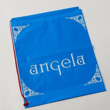 angela Blue/Black Plastic Drawstring Bag