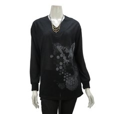 Rozen Kavalier Butterfly Print V-Neck Knit Top