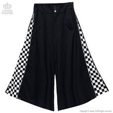 LISTEN FLAVOR Side Zip Checkered Super Wide Pants