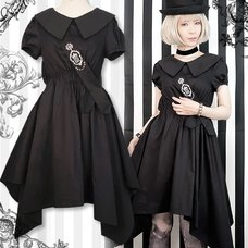 Black MiQuri Dress w/ Cross & Crown Sash