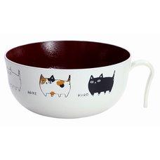 Three Cat Siblings Lacquerware Bowl w/ Handle
