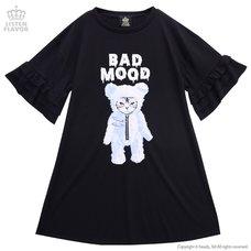 LISTEN FLAVOR Bad Mood Cat Frill Sleeve Dress