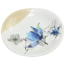 Hana Yura Aquilegia Mino Ware Elliptical Small Plate