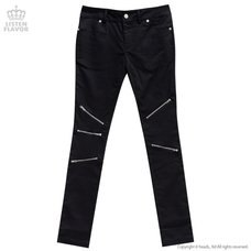 LISTEN FLAVOR Zip Detail Black Skinny Pants
