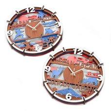 Souvenir Japan 4-Layer Wood Clock Collection