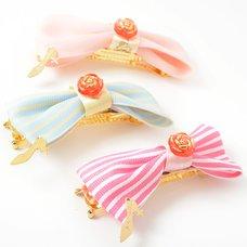 Pinkymika Stripe Ribbon & Rose Barrette