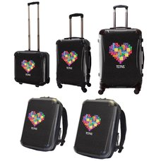 Tetris Art Suitcase & Rucksack Collection: Heart (Black)