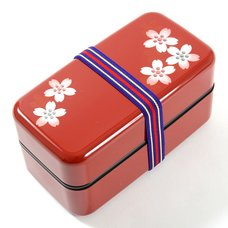 Red Maki-e Cherry Blossom 2-Tier Bento Box