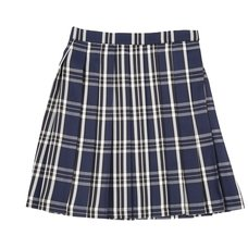 Teens Ever Deep Blue x White High School Uniform Skirt