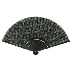 Black Geometric Design Folding Fan