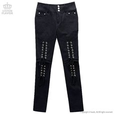 LISTEN FLAVOR Knee Hole Lace-Up Skinny Pants