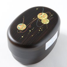 Temari Black Wood Patterned 2-Tier Bento Box
