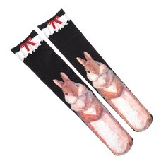 Zettairyoiki Double Rabbit Knee-High Tights (Black)