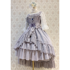 Atelier Pierrot Gray Cummerbund Chiffon Dress