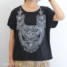 A Bride's Story Necklace Patterned Dolman Sleeve T-Shirt