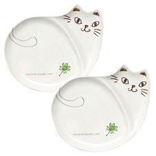 Wildflower Cat Cat-Shaped Plate Set