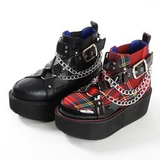 YOSUKE USA Platform Buckle High Top Shoes