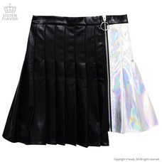 LISTEN FLAVOR Holographic Two-Tone Pleated Skirt