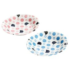 Polka Dots & Cats Mino Ware Curry Plate Set