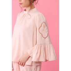 Honey Salon High-Neck Rose Blouse