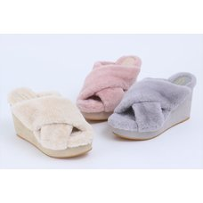 Honey Salon Fur Cross Wedge Sandals