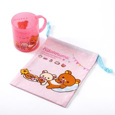 Rilakkuma Plastic Mug & Drawstring Bag Set