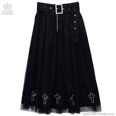 LISTEN FLAVOR Cross Hollow Tulle Layered Long Skirt w/ Detachable Belt