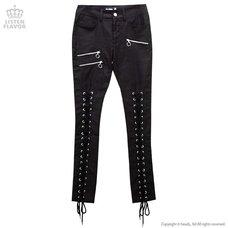 LISTEN FLAVOR Zip Detail Lace-Up Black Skinny Pants