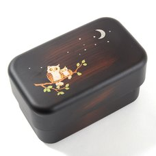 Maki-e Owl 2-Tier Mini Bento Box