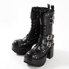 YOSUKE USA Mid-Calf Chunky Buckle Boots