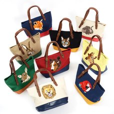 Embroidered Animal Face Tote Bags