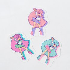 Pastel Girl Clear Sticker Set with Rhinestones