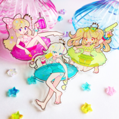 Summer Float Girl Acrylic Keychains